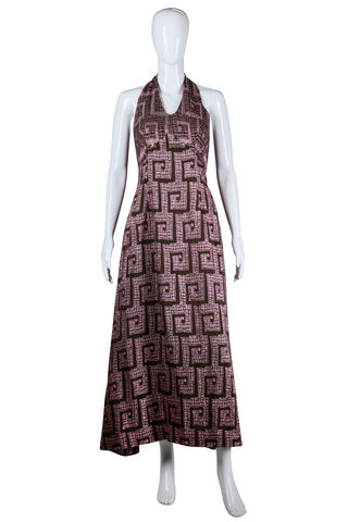 Pink Brown Lurex Greek Key Maxi - Embers / Cinders Vintage