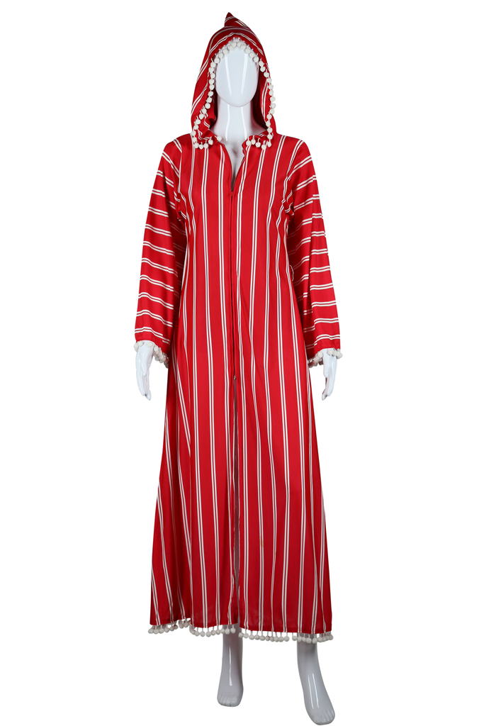 Red Pom Pom Beach Robe