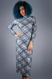 Blue Lurex and Sequin Plaid Sequin Maxi Dress - Embers / Cinders Vintage