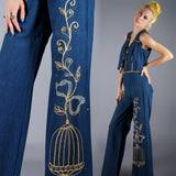 Jeweled Applique Birdcage Jeans and Vest - Embers / Cinders Vintage