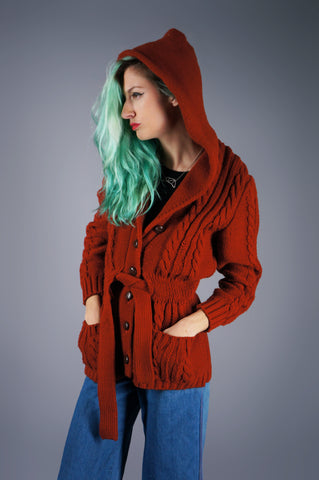 Rust Cable Knit Hooded Sweater Jacket