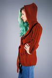 Rust Cable Knit Hooded Sweater Jacket - Embers / Cinders Vintage