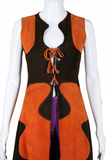 Leather Colorblock Long Lace-Up Vest