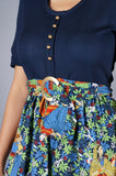 Indian Inspired Novelty Print Dress with Brass Buckle - Embers / Cinders Vintage