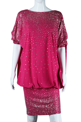 Fuchsia + Silver Glitter Bubble Dress - Embers / Cinders Vintage