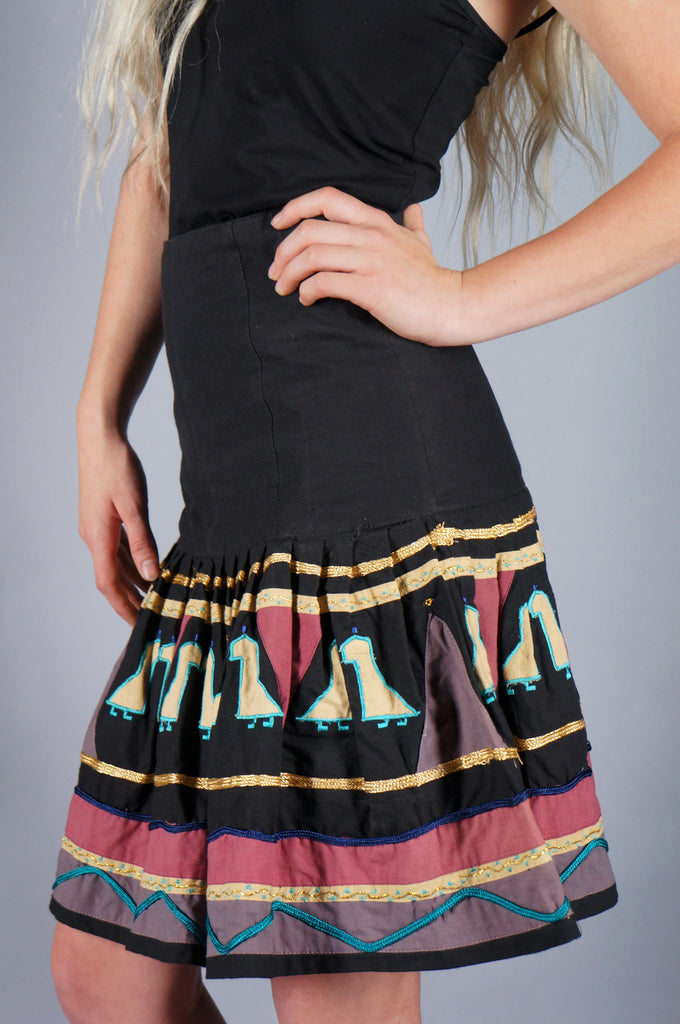 Birds and Triangles Geometric Skirt - Embers / Cinders Vintage