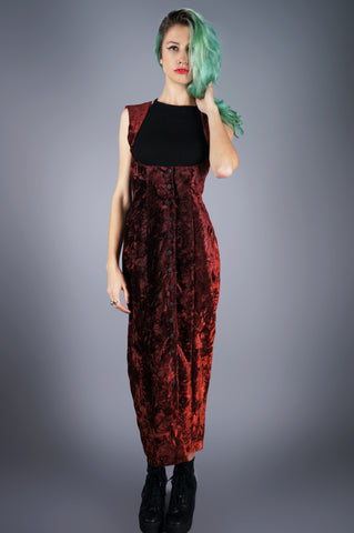Crushed Velvet Suspender Dress - Embers / Cinders Vintage