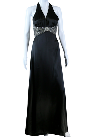 Black Satin Jeweled Waist Maxi Dress - Embers / Cinders Vintage