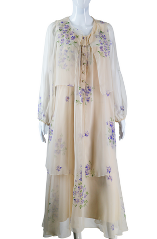 Mignon Hand-Painted Chiffon Dress, Vest + Jacket - Embers / Cinders Vintage