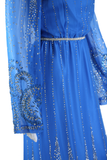 Blue Chiffon Bell Sleeve Dress - Silver Glitter Appliqué