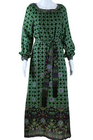 Adele Simpson Green Geometric + Jeweled Maxi Dress - Embers / Cinders Vintage