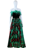Ostrich Feather + Plaid Taffeta Maxi Dress - Embers / Cinders Vintage