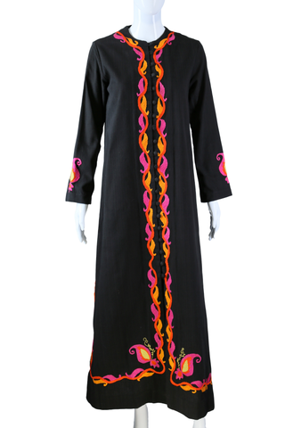 Josefa Black Embroidered Maxi Dress or Duster - Embers / Cinders Vintage