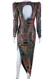 Janine Micro-Mosaic Sheer Cut-Out Asymmetric Party Dress - Embers / Cinders Vintage