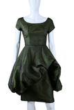 Sculptural Green Black Bouffant Party Dress - Embers / Cinders Vintage