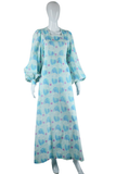 Raindrops and Faces in Profile Novelty Print Maxi Dress - Embers / Cinders Vintage