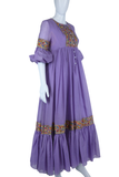 Lavender Embroidered Puff Sleeve Maxi Dress