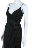 Black Chiffon Ruffle Maxi Dress - Shannon Rodgers for Jerry Silverman - Embers / Cinders Vintage