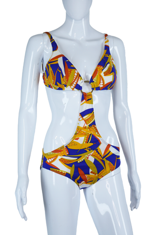 Blue + Orange Monokini - Children of the Psychedelic Corn Print