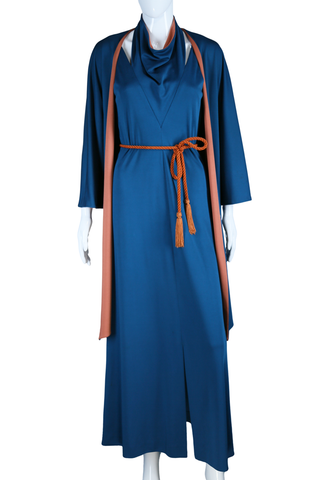 Blue + Pumpkin Cut-out Neck Dress with Reversible Kimono Jacket