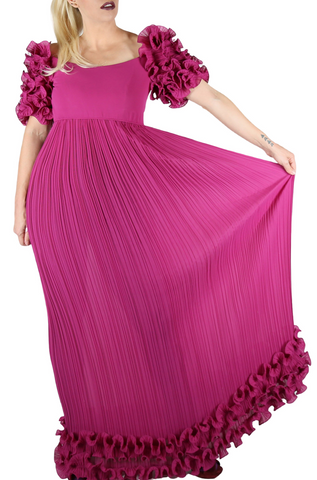 Alfred Bosand Rose Ruffle + Micropleat Dress - Embers / Cinders Vintage