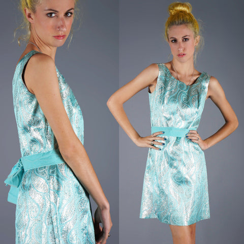 Vintage 60s Silver and Aqua Brocade Mini Dress with Velvet Bow -  - 1