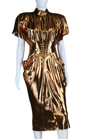 Copper Liquid Lamé Dress