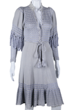 Lavender Crochet Dress with Scalloped Draped Sleeves - Embers / Cinders Vintage