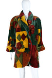 Patchwork + Roses Faux Fur Coat