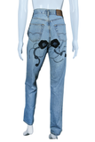 Embroidered Daisy and Spirals High Waisted Jeans