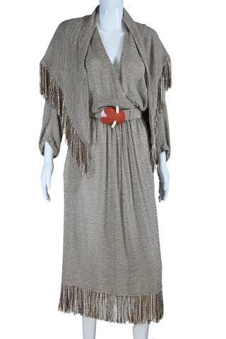 Giorgio Beverly Hills Woven + Fringe Dress