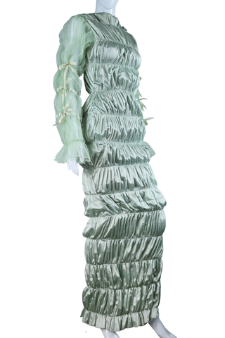Avante Garde Pastel Green Ruched Dress