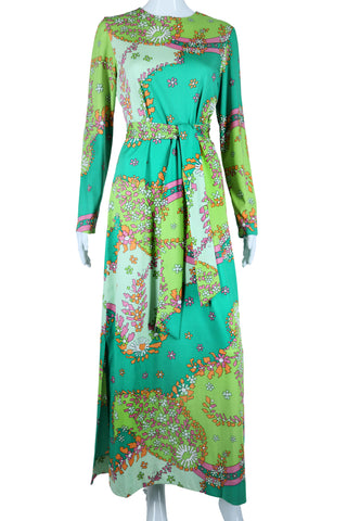 Green Abstracted Florals Geometric Print Maxi Dress