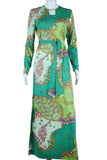 Green Abstracted Florals Print Keyhole Maxi Dress
