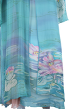 Hand Painted Silk Water Lilies Three Piece Dress Set