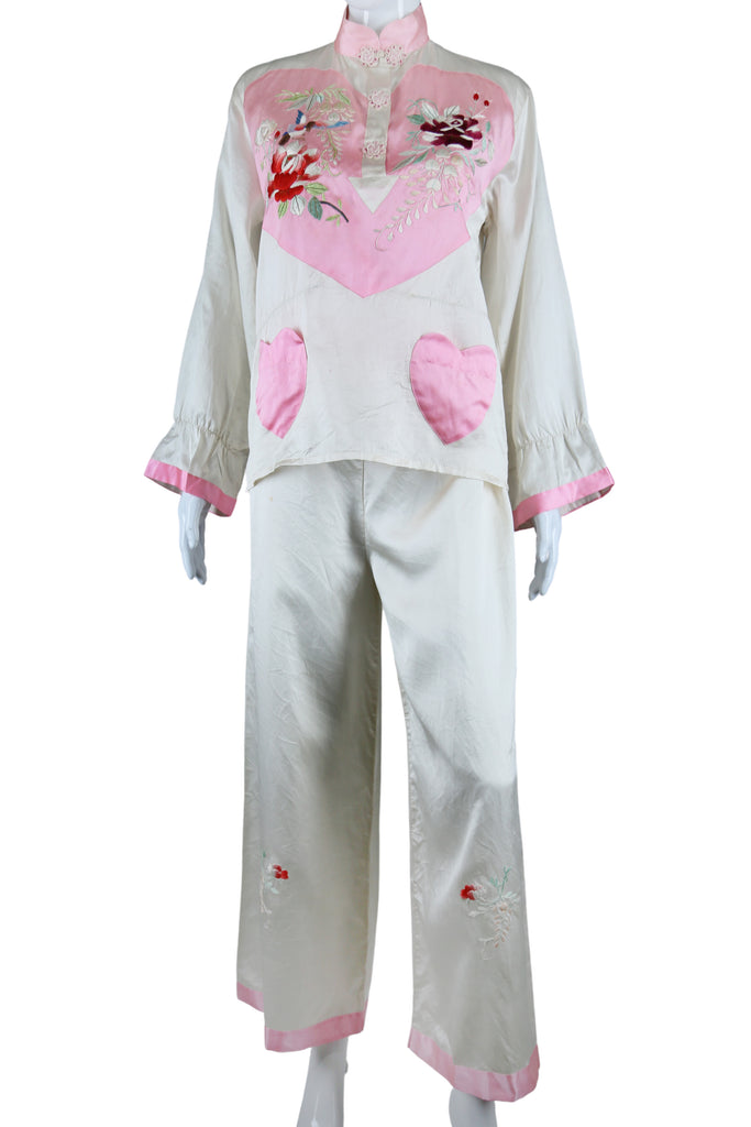 Embroidered Heart Chest and Heart Pockets Silk Pajamas