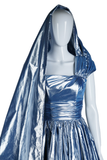 Ice Blue Lamé Dress with Attached Sash - Embers / Cinders Vintage