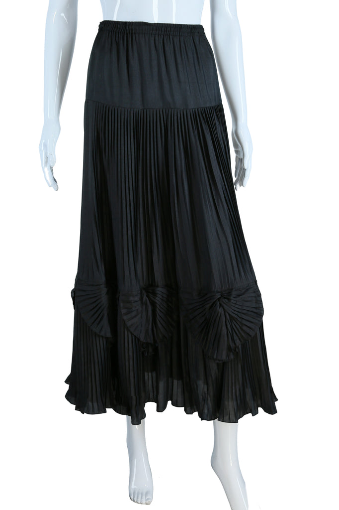 Intricately Pleated Silk Skirt