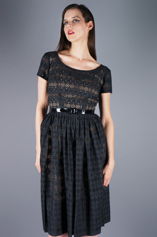 Black Eyelet Dress with Patent Leather Belt - Embers / Cinders Vintage