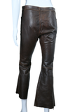 Leather Whipstitch Bell Bottom Pants