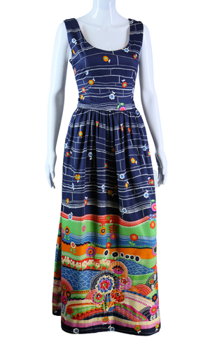 Quilted Rainbow Novelty Print Landscape Maxi Dress - Embers / Cinders Vintage