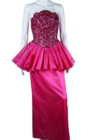 "Fuchsia Sequin ""Malibu Barbie"" Dress - Embers / Cinders Vintage"