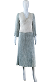 Mary McFadden Fortuny Pleat Grey + Cream Dress - Embers / Cinders Vintage