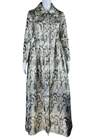 Show-Stopping Metallic Brocade Duster Coat or Maxi Dress