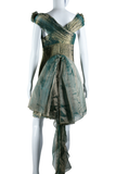 Iridescent Micropleat Dress with Detachable Bustle - Embers / Cinders Vintage
