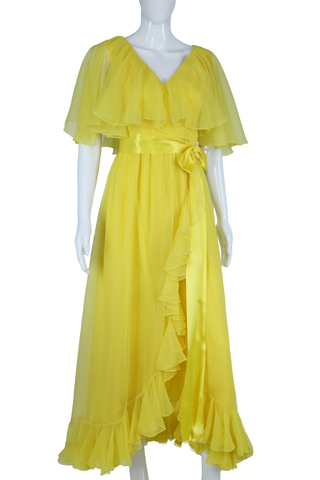 Mollie Parnis Lemonade Chartreuse Yellow Chiffon Dress