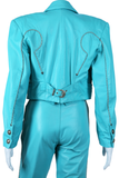 Turquoise Western Leather Suit - Michael Hoban North Beach Leather