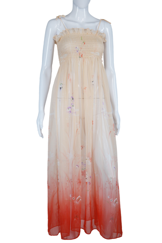 Ethereal Hand Painted Smocked Maxi Dress + Tie Straps