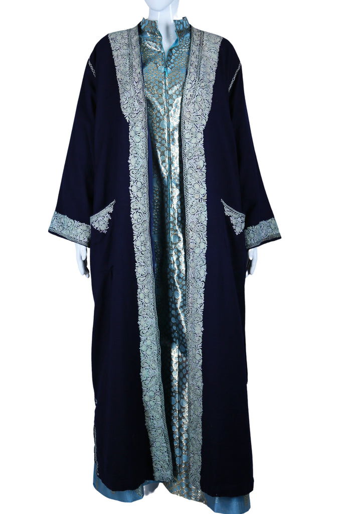 Navy Blue Crewel Embroidered Duster