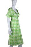 Neon Green Op-Art Print Dress - Embers / Cinders Vintage